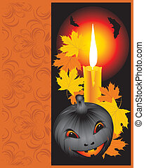 Pumpkin with candle. Halloween card