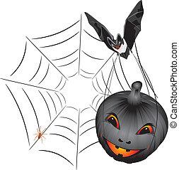 Bat with pumpkin. Halloween