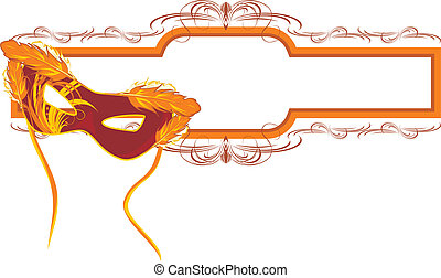 Masquerade mask and frame - Masquerade mask and decorative...