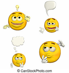 Emoticon Pack - 1of9 - Illustration of a pack of four 4...