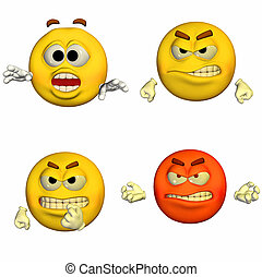 Emoticon Pack - 2of9 - Illustration of a pack of four 4...