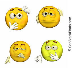 Emoticon Pack - 3of9 - Illustration of a pack of four (4)...