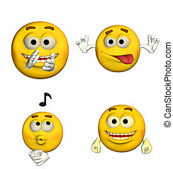 Emoticon Pack - 5of9 - Illustration of a pack of four (4)...