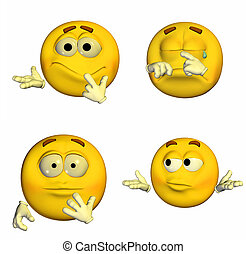 Emoticon Pack - 6of9 - Illustration of a pack of four (4)...