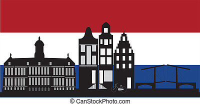 Amsterdam skyline with the dutch flag