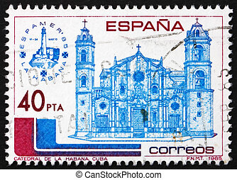 Postage stamp Spain 1985 Havana Cathedral, Cuba - SPAIN -...