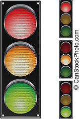 traffic lights on white with variat