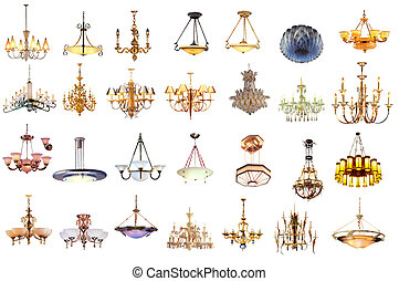 chandelier and lamp isolated on white background