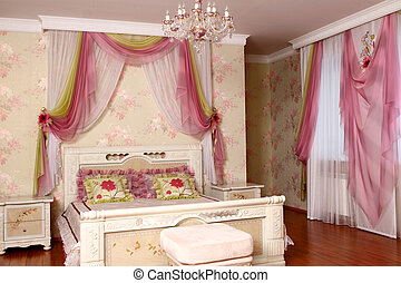interior - beautiful interior of a bedroom with a bed, a...