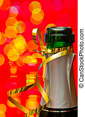 New Years's Champagne - ?hampagne bottleneck with blured...