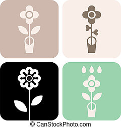 Flower in pot - vector icons Abstract signs Can be used as...