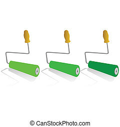 roller for painting in green color