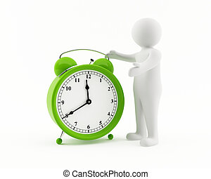 3D man with a green alarm clock - 3D man pointing at a giant...