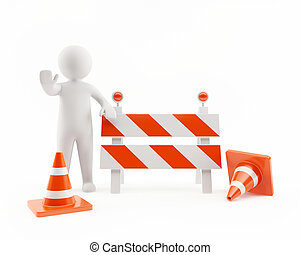 3D man under construction zone - 3D man stopping traffic in...