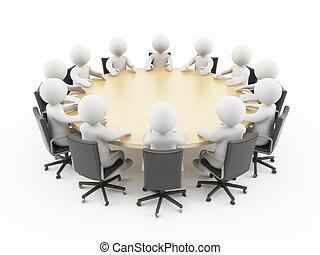 3D people business meeting - 3D people sitting in a business...