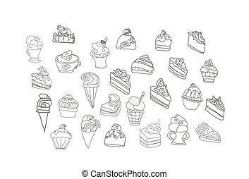 sweet dessert background set