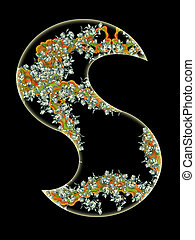 Letter S - Vintage initials letter S in the style of Art...