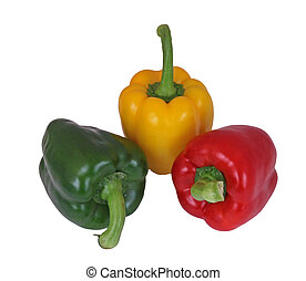 Red, green and yellow peppers on a plain white background.