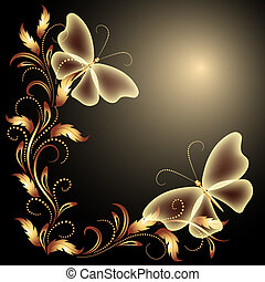 Butterflies and golden ornament - Background with...