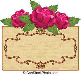 Frame and flowers - Abstract background with frame and roses