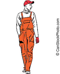 a worker is dressed in orange combination