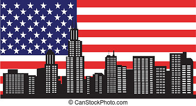 Chicago skyline with american flag united jack