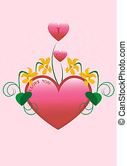 Red heart decorated with narcissus