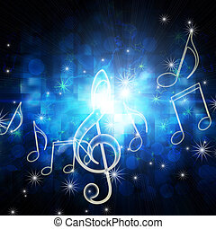 glowing musical symbols with stars