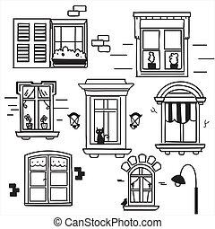 janelas, desenhado, mão