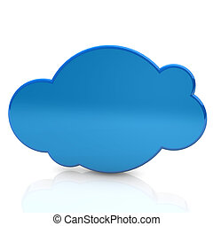 Blue Cloud - Illustration of the blue cloud on the white...