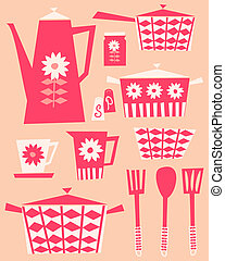 Retro Kitchen Set - A set of kitchen utensils and dishware...