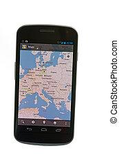 Google, mapas, androide, basado, Dispositivo