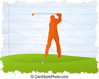 Golf player - on blue paper background