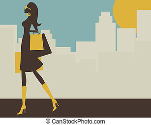 Shopping in the City - Illustration of a young elegant woman...
