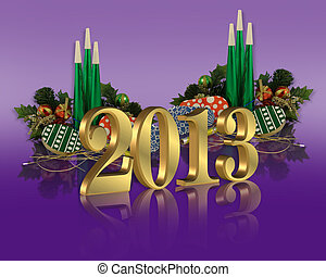 New Year 2013 - 3D illustration gold numbers 2013 graphic...