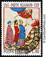 ITALY - CIRCA 1965: a stamp printed in the Italy shows Dante...