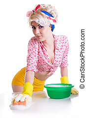 Pinup woman with sponge and foam isolated on white