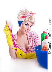Pinup girl with cleaning set - Pinup girl with cleaning...