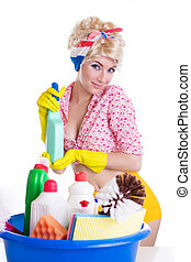 Pinup woman with cleaning set over white