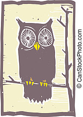 Owl Woodblock - Woodblock print style owl in a tree