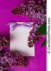 Greeting card with lilac flowers