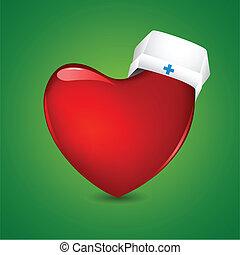 Nurse Cap on Heart - illustration of nurse cap on heart on...
