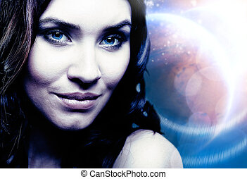 Outer Space. Female portrait