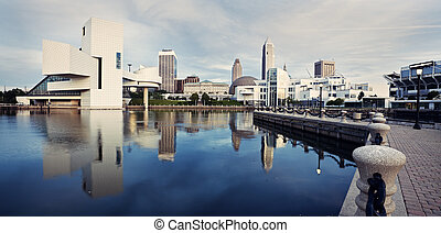 Panorama of Cleveland seen from the lake front