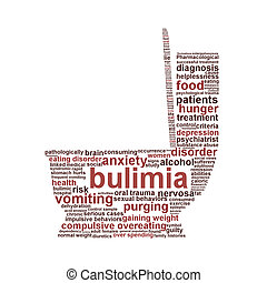 Bulimia Nervosa symbol isolated on white background Eating...
