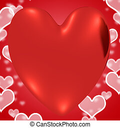 Heart With Red Hearts Background Showing Loving And Romance