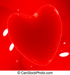 Red Heart On A Glowing Background Shows Love Romance And Valentines Day