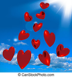 Metallic Red Hearts Falling From The Sky Showing Love And...