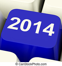 2014 Key On Keyboard Representing Year Two Thousand And...
