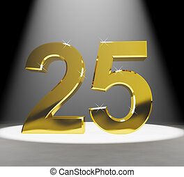 Gold 25th 3d Number Closeup Representing Anniversary Or...